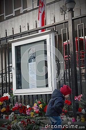 KYIV, UKRAINE-APRIL 10: Mourning flowers. Editorial Image