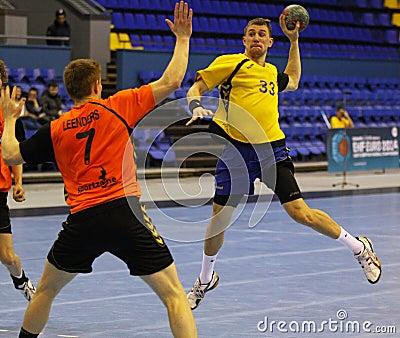 Handball game Ukraine vs Netherlands Editorial Image