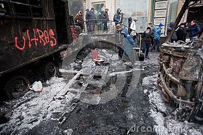 KYIV, UKRAINE: People walk past the winter street  Editorial Stock Photo