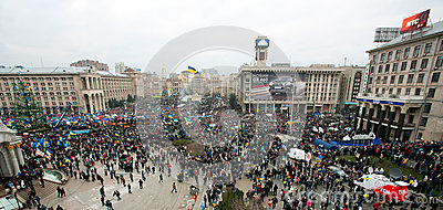 KYIV, UKRAINE: Top view of the thousands people in the crowd of anti-government demonstration during the week of protest Editorial Stock Photo