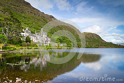 Kylemore Abbey in Connemara mountains Editorial Stock Image