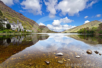 Kylemore Abbey and mountains in Connemara Editorial Photography