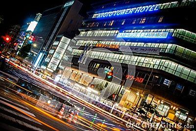 Kyoto City Night Shot (Kyoto Tower Hotel) Editorial Stock Photo
