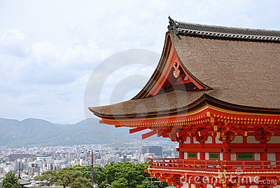 Kyoto With Foreground Temple