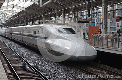 KYOTO, JAPAN - AUGUST 14: Shinkansen train waits for departure ar rail terminal in Japan on August 14, 2012 Editorial Photo