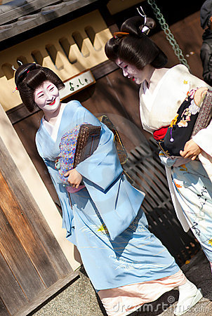 KYOTO, JAPAN - NOVEMBER 8, 2011: Two Geishas Editorial Photo