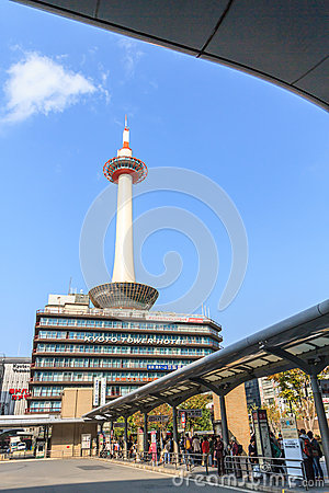 KYOTO, JAPAN - OCT 30: Kyoto Tower and Kyoto Tower Hotel viewed Editorial Photography