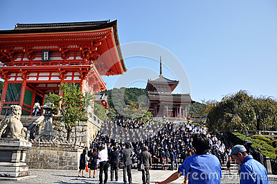 KYOTO- OCT 21: Field visit at Koyomizu temple, a famous tourist Editorial Stock Photo