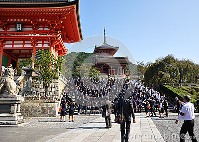 KYOTO- OCT 21: Field visit at Koyomizu temple, a famous tourist Editorial Stock Image