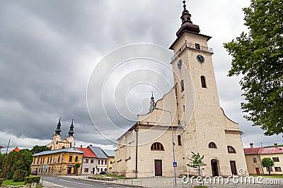 Kyrka i den Podolínec staden