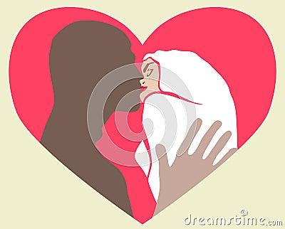 Kyssande vänner två