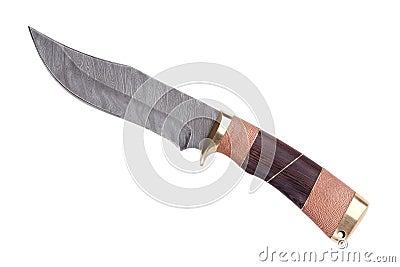 Lámina afilada del metal con la maneta trenzada