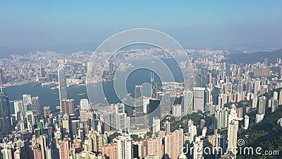 Línea alta de la ciudad de Hong Kong, China, desde el pico Victoria 9 de noviembre de 2019 almacen de metraje de vídeo