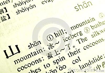 Língua do chinês da montanha da palavra