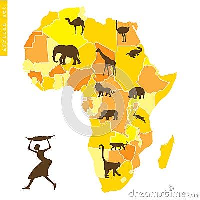 L Africain a placé avec la carte et les animaux