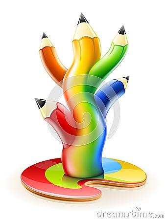 L albero di colore disegna a matita il concetto creativo di arte