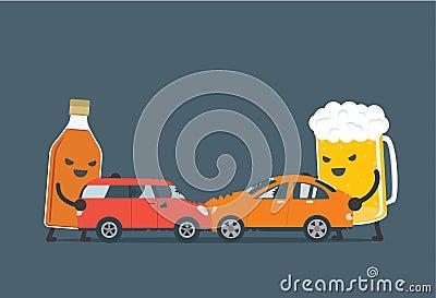 l 39 alcool font l 39 accident de voiture illustration de vecteur image 61932218. Black Bedroom Furniture Sets. Home Design Ideas