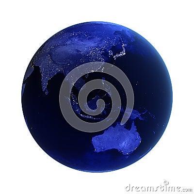 L Asia e l Australia su bianco