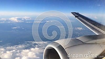 L'avion se déplace au-dessus de la ville et de la campagne Vue gentille du hublot clips vidéos