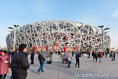 L emboîtement de 2008 de Jeux Olympiques oiseaux principaux de stade Image éditorial