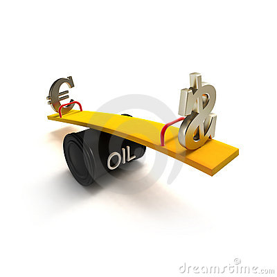 L euro et le dollar se connecte une balançoir de tonneau à huile