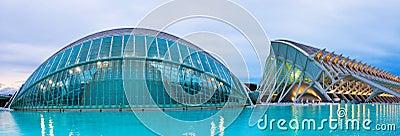 L Hemisferic and El Museu de les Ciencies Principe Felipe in dus Editorial Stock Image