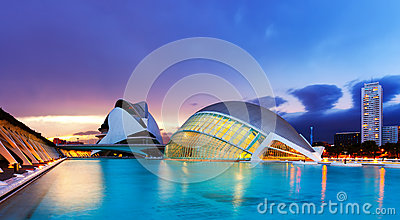 L Hemisferic and El Palau de les Arts Reina Sofia in dusk Editorial Stock Image