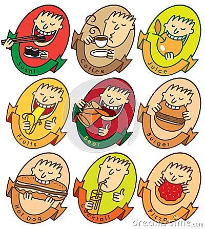 L homme mangent différents paraboloïdes