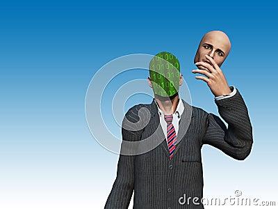L homme retire le visage pour indiquer la binaire