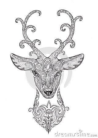 l 39 image stylis e tatouage d 39 un beau cerf commun de for t se dirigent avec le klaxon. Black Bedroom Furniture Sets. Home Design Ideas