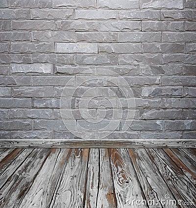 L'interno della stanza con la pietra del mattone piastrella il ...
