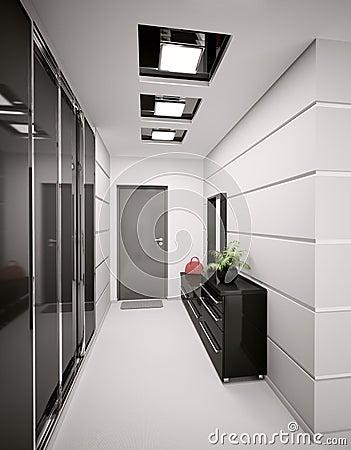 l 39 int rieur du hall d 39 entr e moderne 3d rendent images libres de droits image 16332209. Black Bedroom Furniture Sets. Home Design Ideas