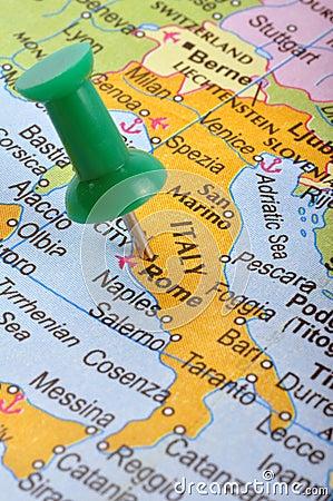 L Italie dans la carte
