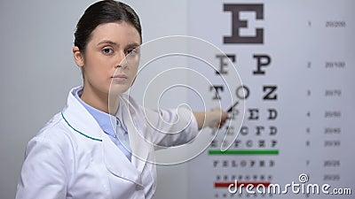 L'optométriste de la dame s'est énervée contre les mauvais résultats des tests de vue, les sourcils et la tête secouée clips vidéos