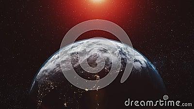 L'orbite terrestre de plan?te bourdonnent dedans rayonnement rouge de lumi?re du soleil illustration de vecteur