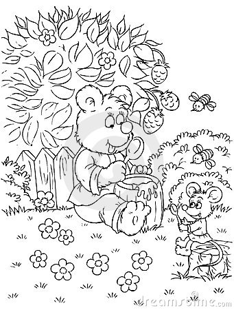 L ours et la souris mangent du miel