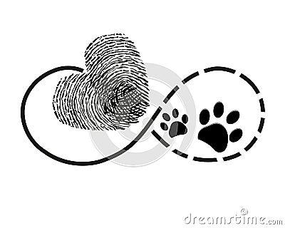 L 39 ternit avec le coeur d 39 empreinte digitale et la patte de chien imprime le tatouage de - Symbole de l eternite ...