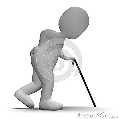 L uomo anziano con la rappresentazione del bastone da passeggio ha invecchiato il carattere 3d