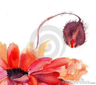 La amapola estilizada florece la ilustración