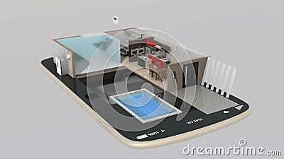 La animación 3DCG de la casa elegante parte la instalación en un teléfono elegante