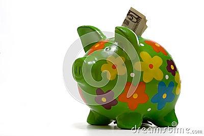 La Banca Piggy fiorita verde