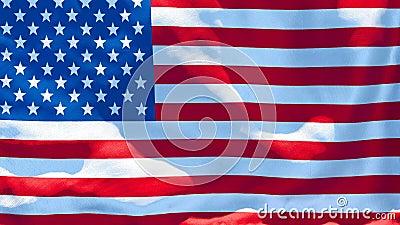 La bandera nacional de los Estados Unidos de América está ondeando en el viento metrajes