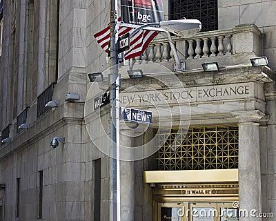 La Bolsa de Nuevo York Wall Street Foto de archivo editorial