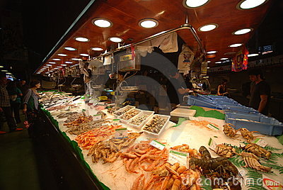 La Boqueria market in Barcelona Editorial Stock Photo