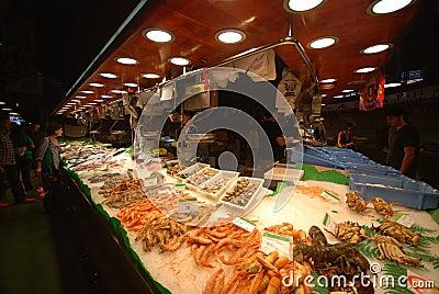 La Boqueria market in Barcelona Editorial Stock Photo