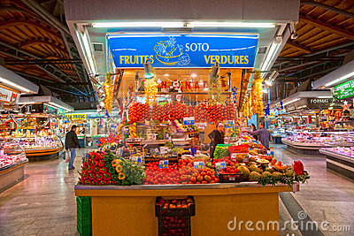 La Boqueria market, Barcelona, Spain. Editorial Photography