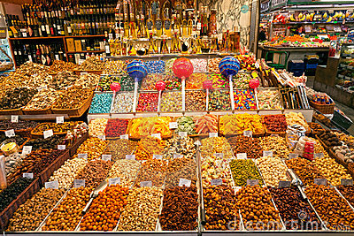La Boqueria market, Barcelona, Spain. Editorial Photo