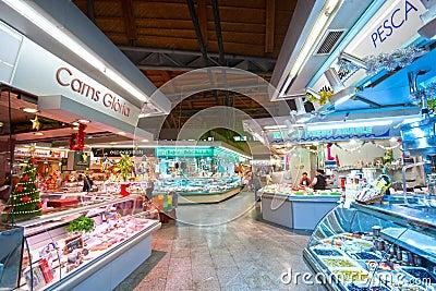 La Boqueria market, Barcelona, Spain. Editorial Stock Image