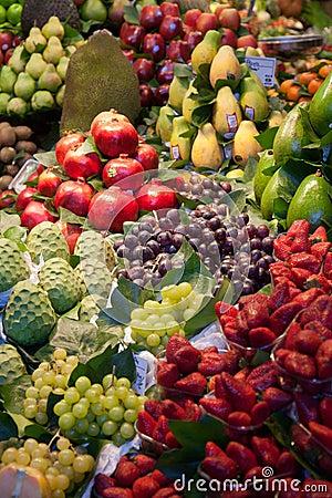 La Boqueria market in Barcelona - Spain Editorial Stock Photo
