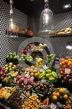 La Boqueria market in Barcelona - Spain Editorial Image